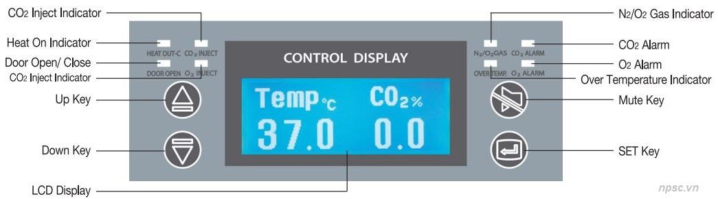Bảng điều khiển và hiển thị của tủ ấm CO2 180 lít Air jacket model WS-180CA