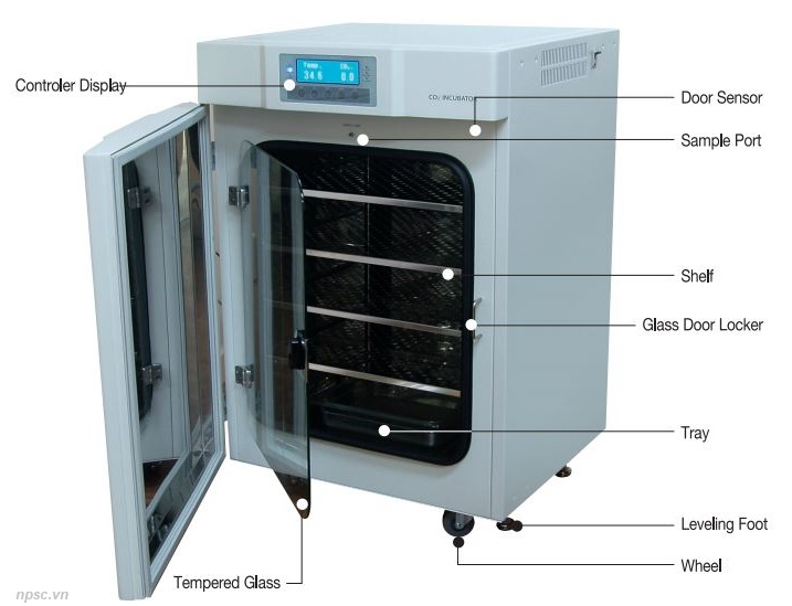 Sơ đồ cấu tạo tủ ấm CO2 40 lít Air Jacket model WS-40CA