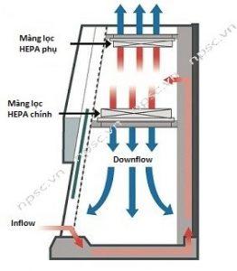 Dòng khí trong tủ an toàn sinh học cấp 2 LKLAB 1.5m