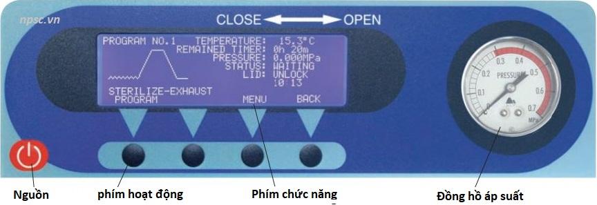 Màn hình cài đặt thông số nồi hấp tiệt trùng ALP model CLG và CLG-DVP