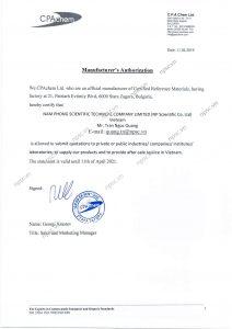Chứng chỉ đại lý dung dịch chuẩn pH CPAChem của Cty Nam Phong