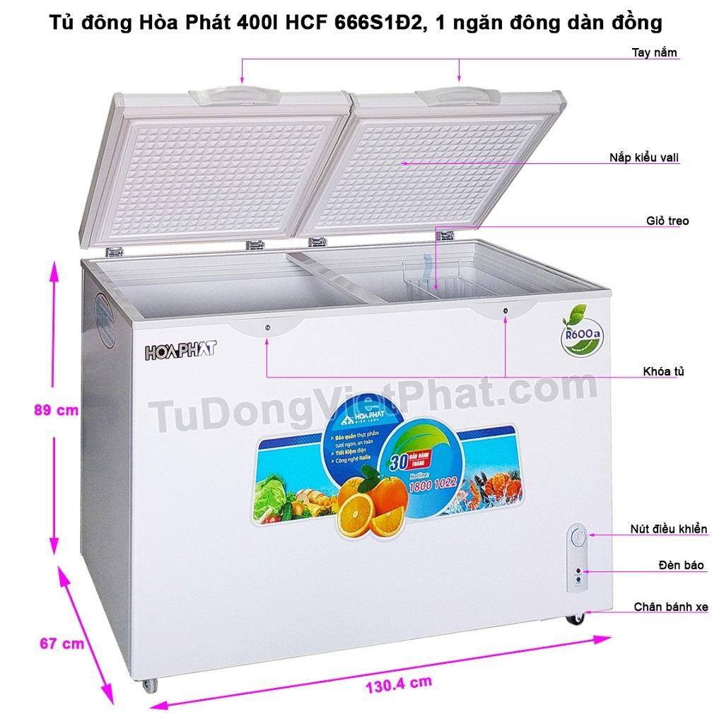 Tủ đông Hòa Phát 400l HCF 666S1Đ2, 1 ngăn đông dàn đồng