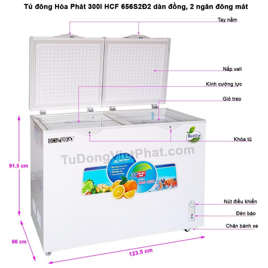 Tủ đông Hòa Phát 300l, HCF 656S2Đ2 dàn đồng, 2 ngăn đông mát