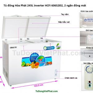 Tủ đông Hòa Phát 245L inverter HCFI 606S2Đ2, 2 ngăn đông mát
