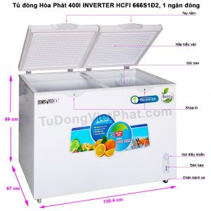 Tủ đông Hòa Phát 400l, INVERTER HCFI 666S1Đ2, 1 ngăn đông