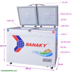 Kích thước tủ đông Sanaky VH-2899W1, 220L 2 ngăn đông mát dàn đồng