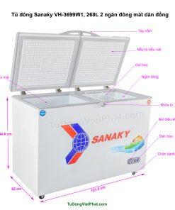 Kích thước tủ đông Sanaky VH-3699W1, 260L 2 ngăn đông mát dàn đồng