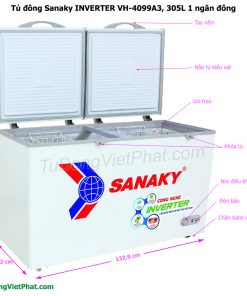 Kích thước tủ đông Sanaky VH-4099A3, INVERTER 305L 1 ngăn đông