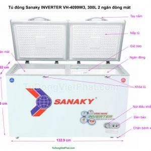 Kích thước tủ đông Sanaky VH-4099W3, INVERTER 300L 2 ngăn đông mát