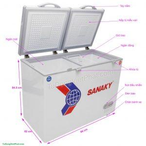 Tủ đông Sanaky VH-225W2, 165 lít 2 ngăn đông – mát