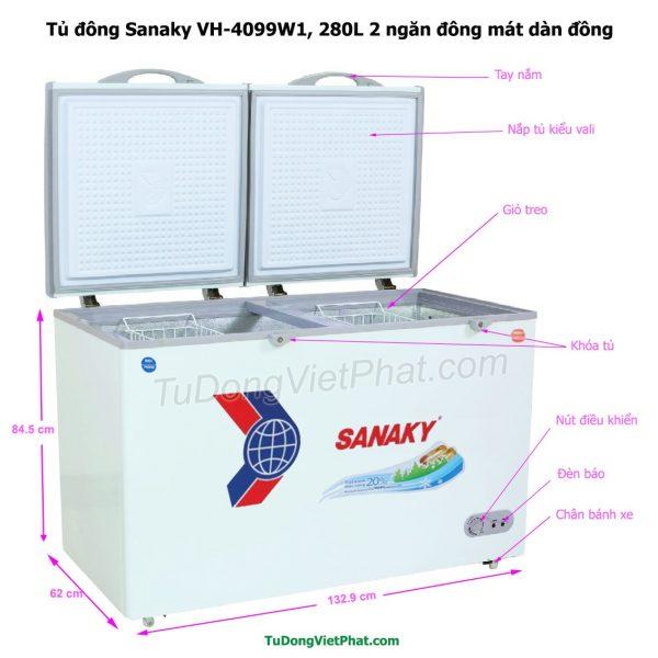 Kích thước tủ đông Sanaky VH-4099W1, 280L 2 ngăn đông mát dàn đồng