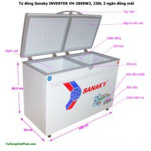 Kích thước tủ đông Sanaky VH-2899W3, INVERTER 230L 2 ngăn đông mát
