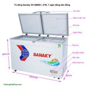 Kích thước tủ đông Sanaky VH-3699A1, 270L 1 ngăn đông dàn đồng