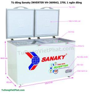 Kích thước tủ đông Sanaky VH-3699A3, INVERTER 270L 1 ngăn đông