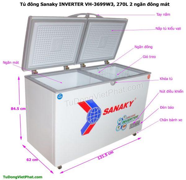 Kích thước tủ đông Sanaky VH-3699W3, INVERTER 270L 2 ngăn đông mát
