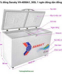Kích thước tủ đông Sanaky VH-4099A1, 305L 1 ngăn đông dàn đồng