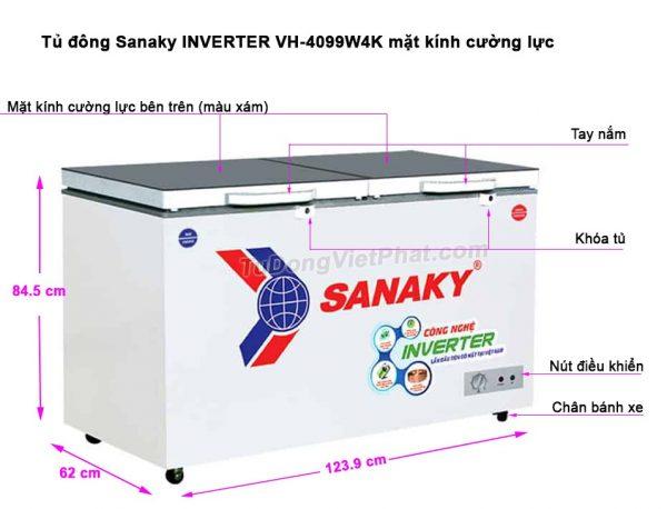 Kích thước tủ đông Sanaky VH-4099W4K INVERTER mặt kính cường lực