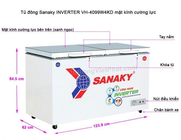 Kích thước tủ đông Sanaky VH-4099W4KD INVERTER mặt kính cường lực