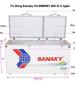 Kích thước tủ đông Sanaky VH-6699W1