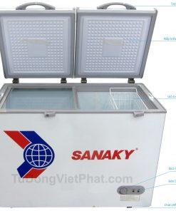 Tủ đông Sanaky VH-225A2, 175 lít 1 ngăn đông 2 cánh