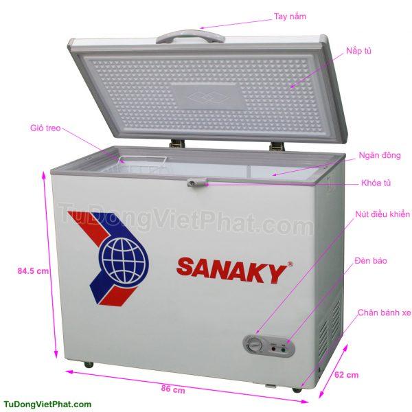 Tủ đông Sanaky VH-225HY2, 175 lít 1 ngăn đông 1 cánh