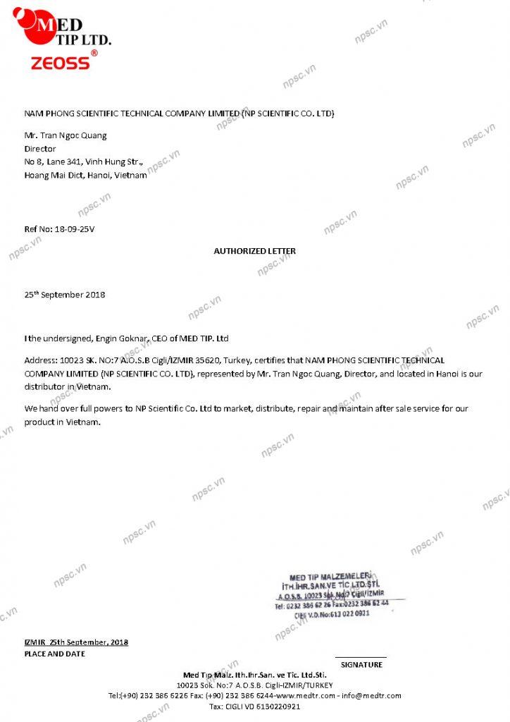Chứng thư ủy quyền của nhà sản xuất MEDTIP cho công ty Nam Phong