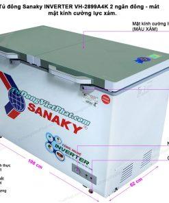 Tủ đông Sanaky INVERTER VH-2899W4K mặt kính cường lực xám