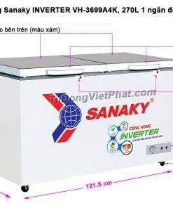 Tủ đông Sanaky INVERTER VH-3699A4K mặt kính cường lực (xám)