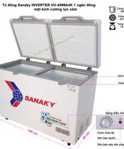 Tủ đông Sanaky INVERTER VH-4099A4K mặt kính cường lực (xám)