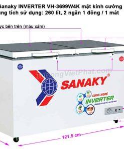 Tủ đông Sanaky INVERTER VH-3699W4K mặt kính cường lực (xám)