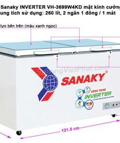 Tủ đông Sanaky INVERTER VH-3699W4KD mặt kính cường lực xanh
